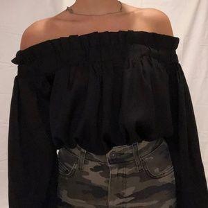Brand new black off the shoulder top